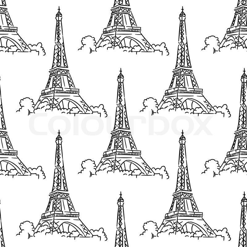 Eiffel Tower Black And White Background Eiffel Tower Seamless Background Pattern With a Black And White Delicate