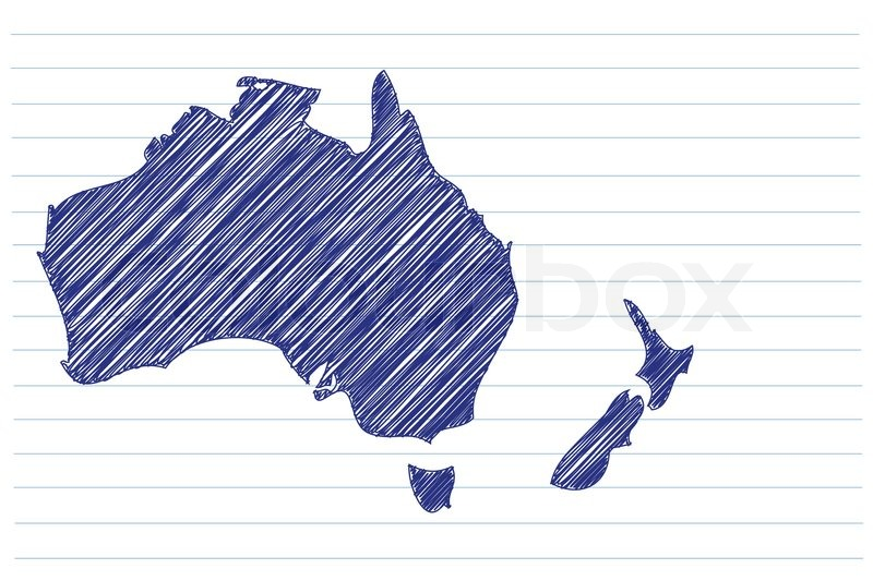 Notebook And Pen Sketch Stock Vector Art More Images Of: Scribble Sketch Of Australia Map On A Notepad Sheet