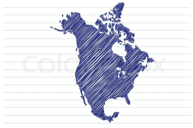 Scribble Sketch Of North America Map On A Notepad Sheet Stock - Us map sketch