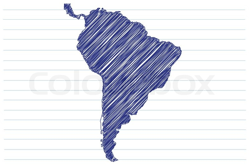 Notebook And Pen Sketch Stock Vector Art More Images Of: Scribble Sketch Of South America On A ...