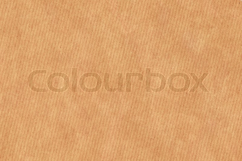 Photograph Of Recycle Light Brown Kraft Striped Paper Coarse Grain Crushed Crumpled Vignette Grunge Texture Stock Photo