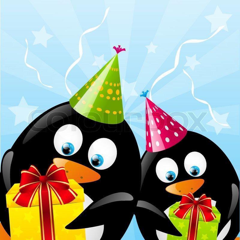 Открытка на день рождения с пингвинами