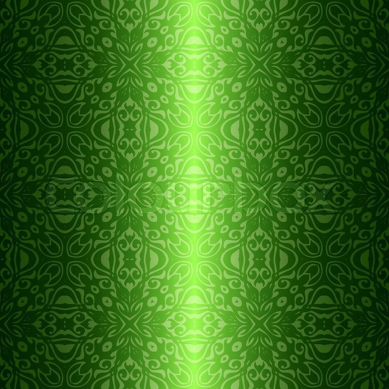 Damask Vintage Floral Green Seamless Pattern Background Vector Simple Green Pattern Background