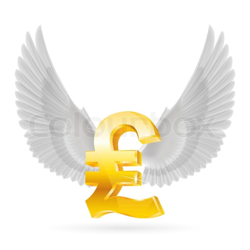 Golden Great Britain Pound Symbol With White Wings Stock Vector