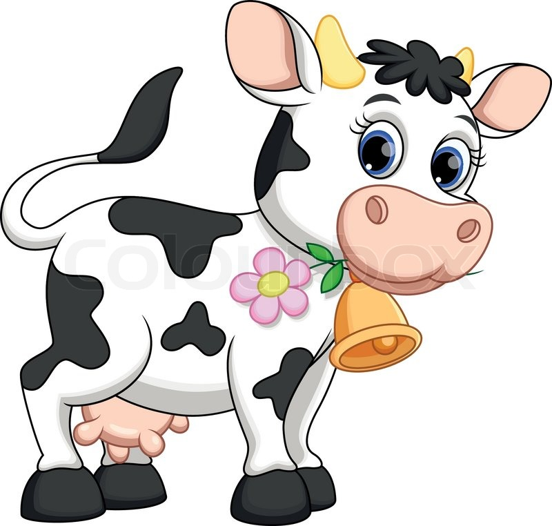 Cute cow cartoon stock vector colourbox