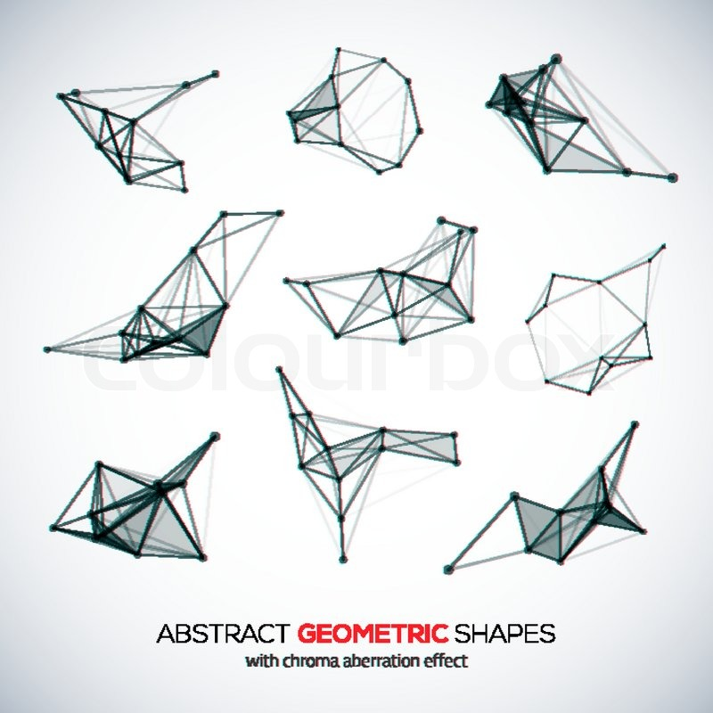 set of abstract vector geometric shapes with chroma aberration