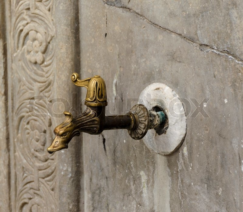 Ancient old exterior water tap. Greece. Rhodes | Stock Photo ...