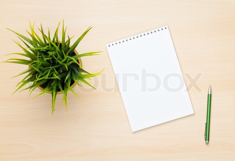 Blank notepad, pen and flower on wooden table. View from above, stock photo