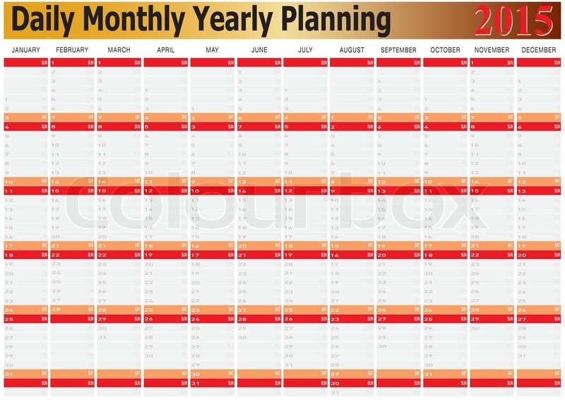 vector of daily monthly yearly planning chart year 2015 stock