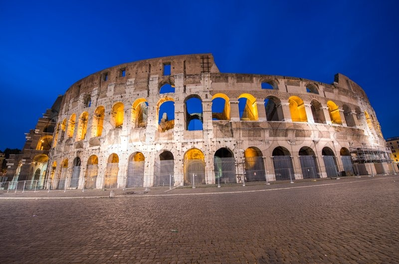 Rome, The Colosseum. Night view on a beautiful summer night, stock photo