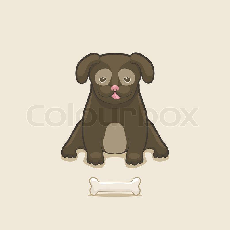 hund mit knochen  stockvektor  colourbox