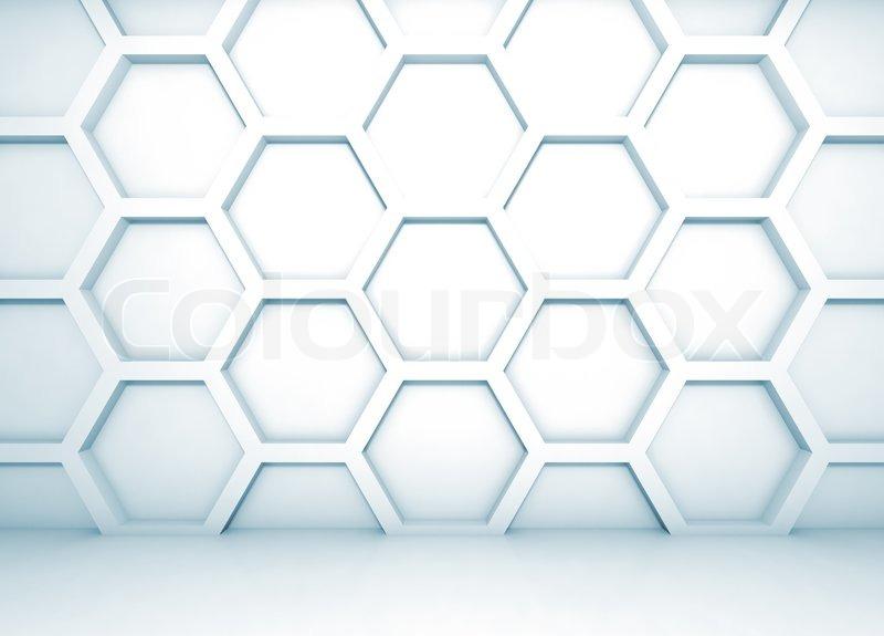 blau abstrakt 3d interior mit waben muster an der wand stockfoto colourbox. Black Bedroom Furniture Sets. Home Design Ideas