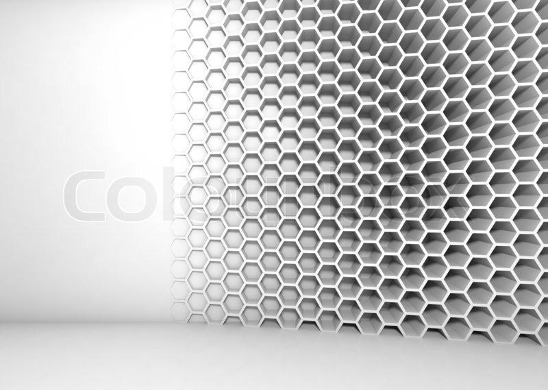 Abstrakt weiß 3d Interior mit Waben-Muster an der Wand | Stockfoto ...