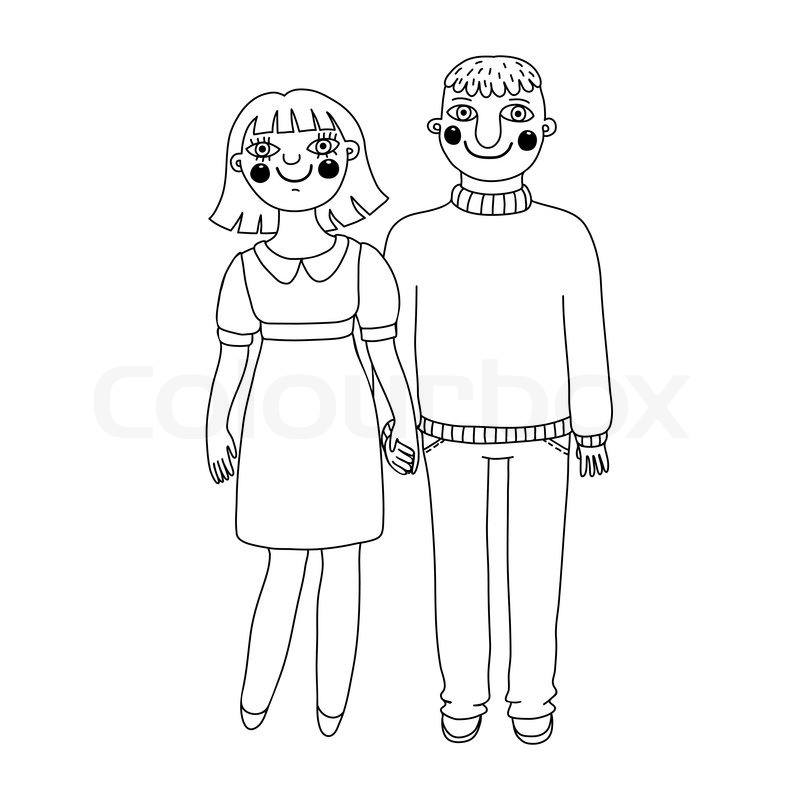 Gezeichnete Mann und Frau. junges Paar verliebt. | Vektorgrafik ...
