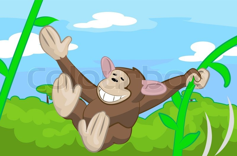 A Cute Monkey Swinging Through The Stock Vector