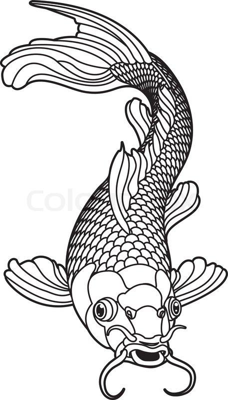 Koi-Karpfen schwarz-weiß-Fisch | Vektorgrafik | Colourbox