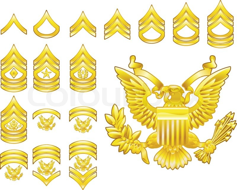 Set Of Military American Army Enlisted Rank Insignia Icons Stock