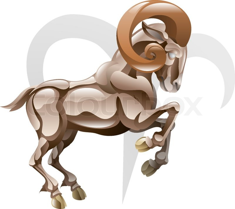 Illustration Representing Aries The Ram Star Or Birth Sign Includes