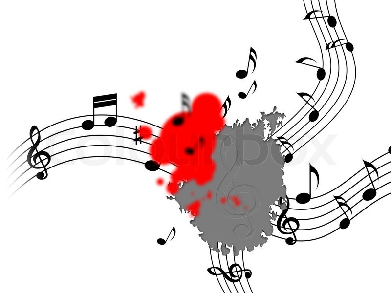 Splash Notes Meaning Bass Clef And Splattered, stock photo