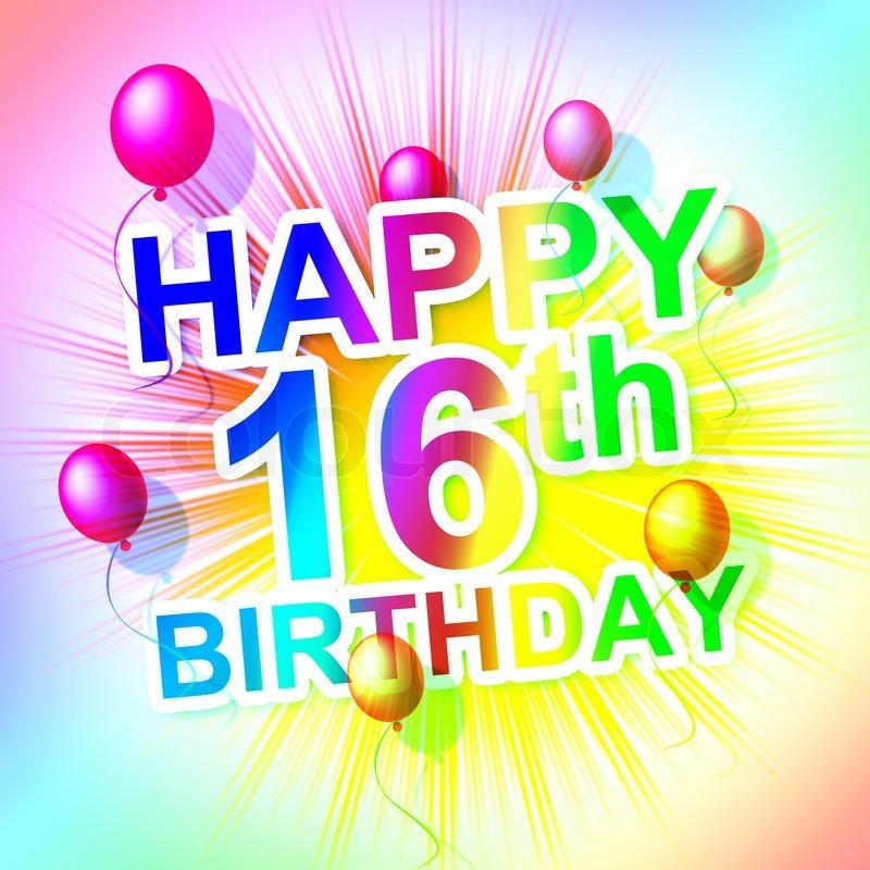 Alles Gute Zum Geburtstag Gibt Sechzehn Stockfoto Colourbox