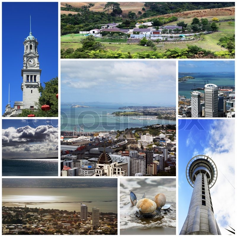 Collage from 8 photos city Auckland. New Zealand | Stock Photo | Colourbox
