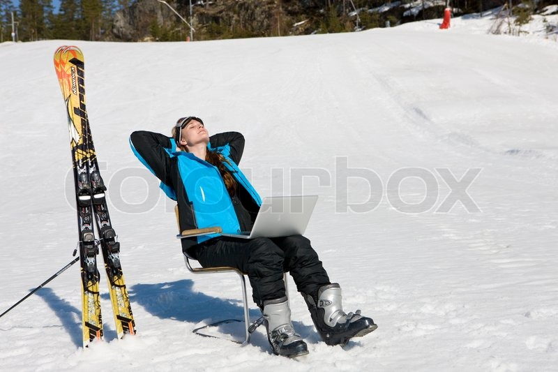 Stock image of 'Relaxing with a laptop at Kongsberg ski center Norway'