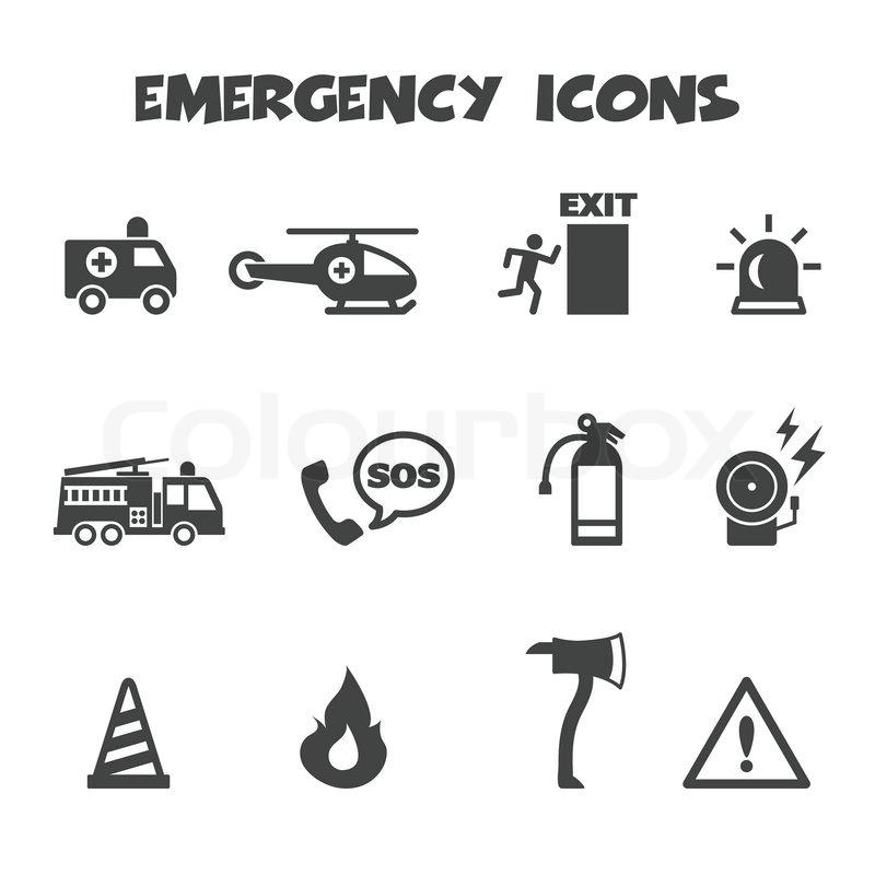 Emergency Icons Mono Vector Symbols Stock Vector Colourbox
