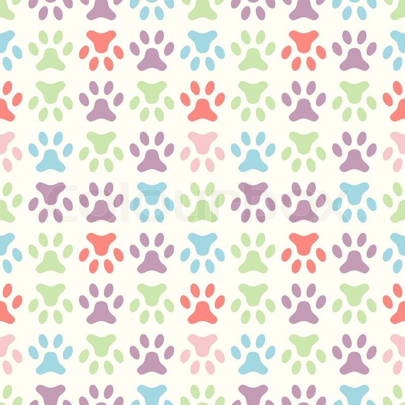 Animal Seamless Vector Pattern Of Paw Footprint Endless