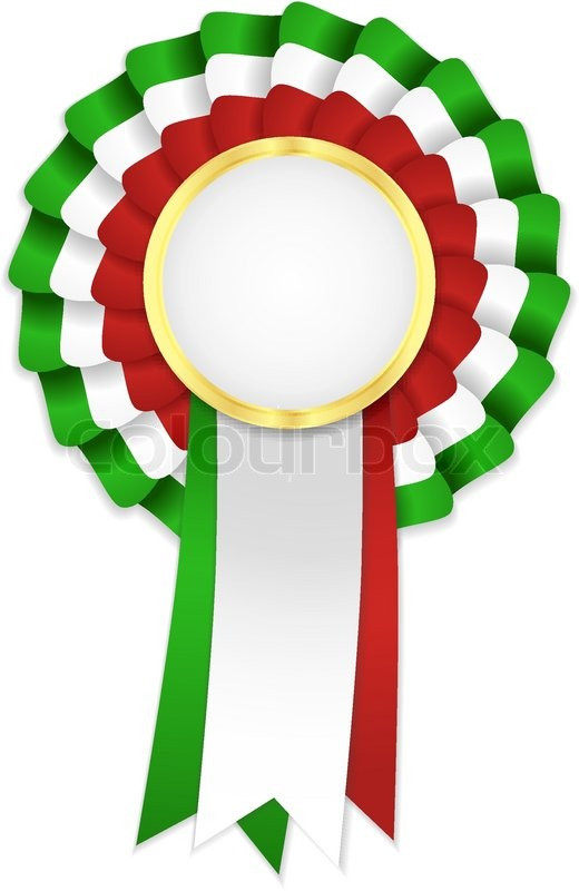 Tricolor rosette with golden frame and green, white and red ribbon ...