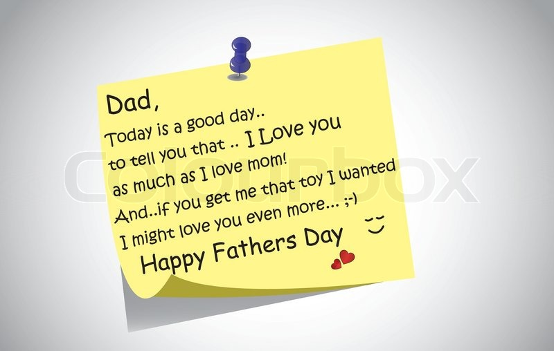 Unique happy fathers day post it note text greetings concept a unique happy fathers day post it note text greetings concept a touching and lovely fathers day wishes written by little son or daughter the day before on a m4hsunfo