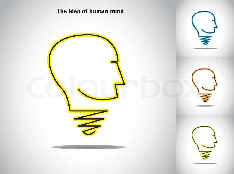 human head light bulb idea abstract concept illustration