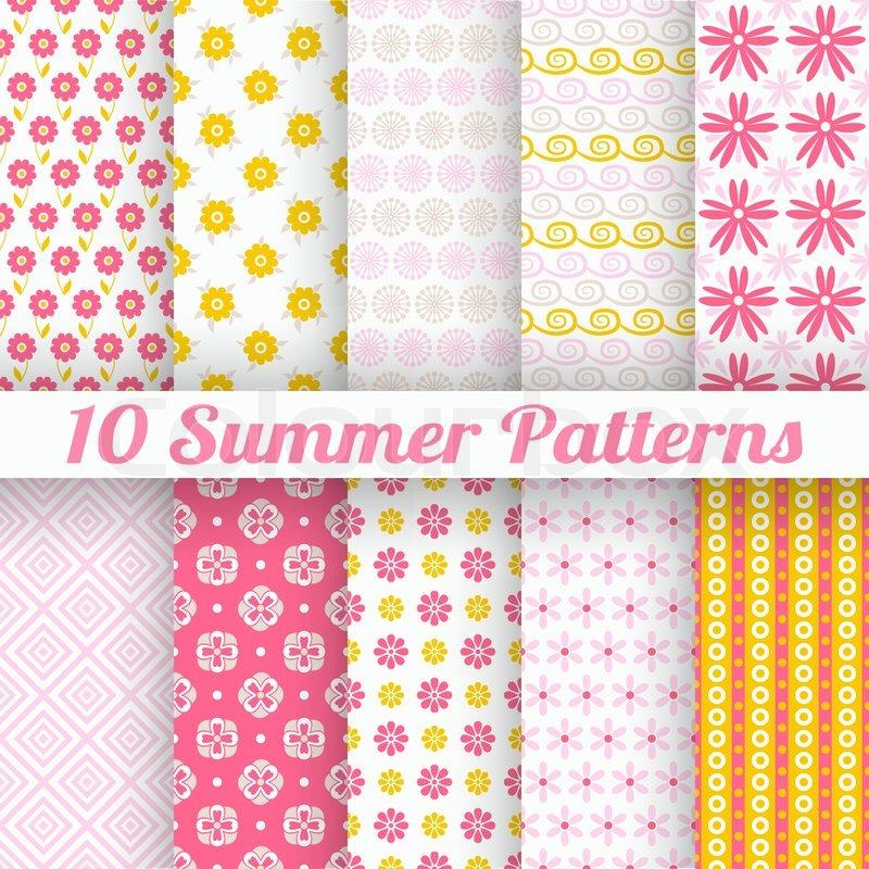 10 leichte Sommer Vektor nahtlose Muster (Fliesen). gern Rosa, wh ...