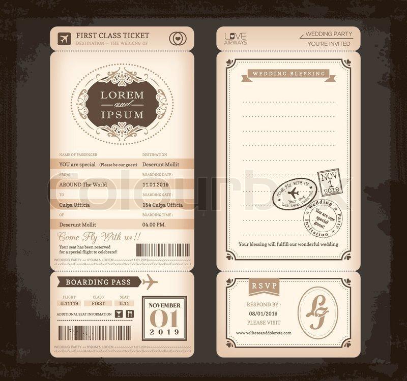 Alte Vintage-Stil Boarding Pass Ticket Hochzeit Karte | Vektorgrafik ...