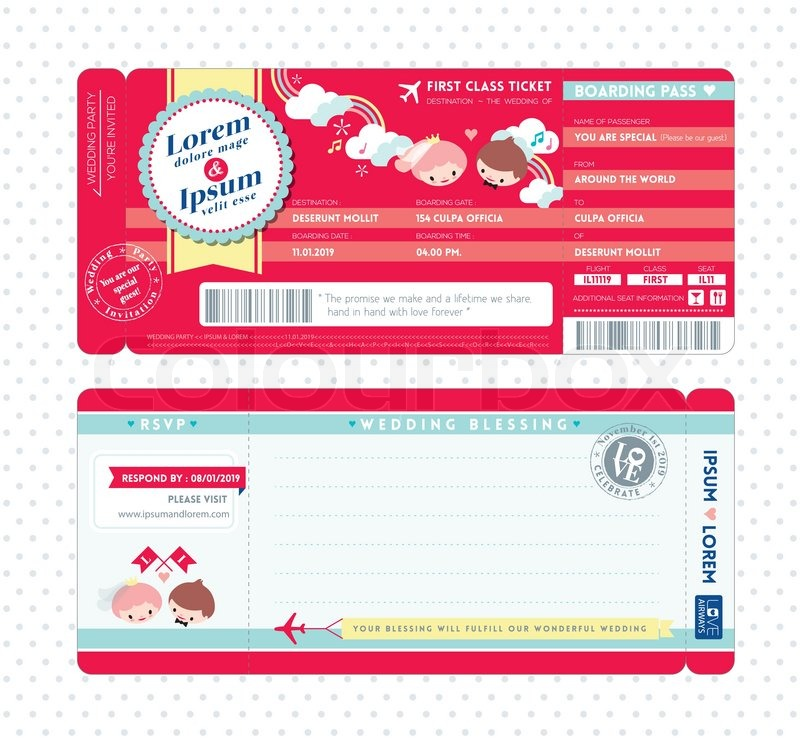 Cute boarding pass ticket wedding invitation template stock vector cute boarding pass ticket wedding invitation template vector stopboris Image collections