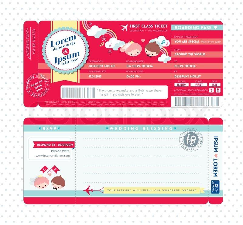 Cute Boarding Pass Ticket Wedding Invitation Template | Stock ...