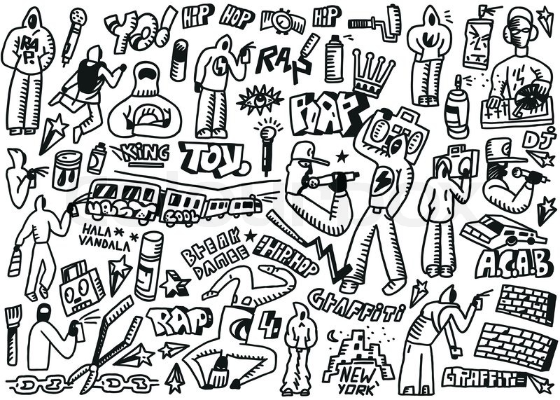 rap hip hop graffiti set icons in sketch style stock vector