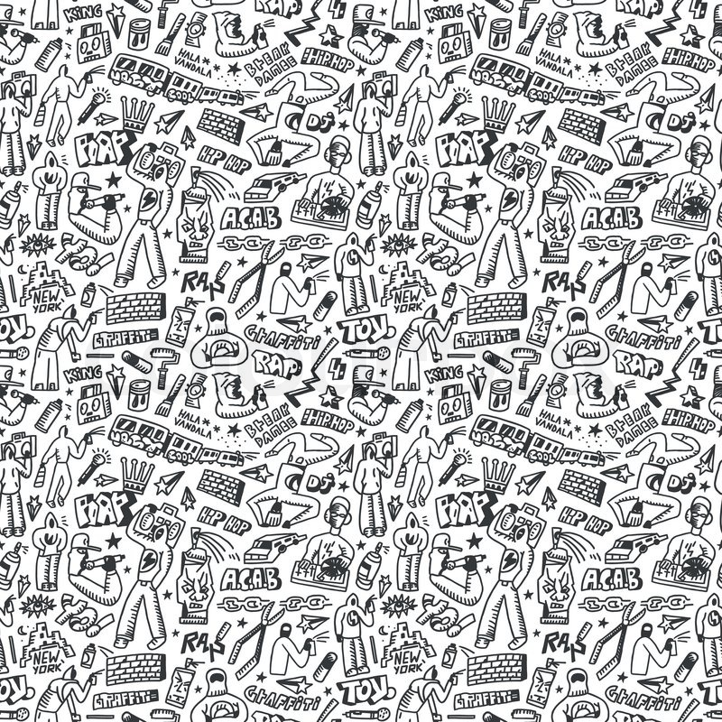 Rap,hip hop ,graffiti - seamless background with icons in ...