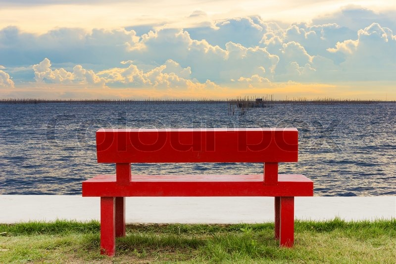Empty red chair and twilight sea view background | Stock Photo | Colourbox & Empty red chair and twilight sea view background | Stock Photo ...