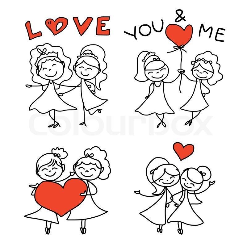 Hand Drawing Cartoon Concept Happy Same Sex Couple Wedding -6945