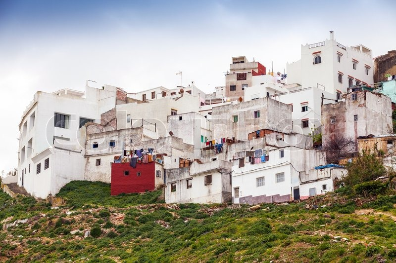 tanger marokko alte wei e lebenden h user in medina stockfoto colourbox. Black Bedroom Furniture Sets. Home Design Ideas