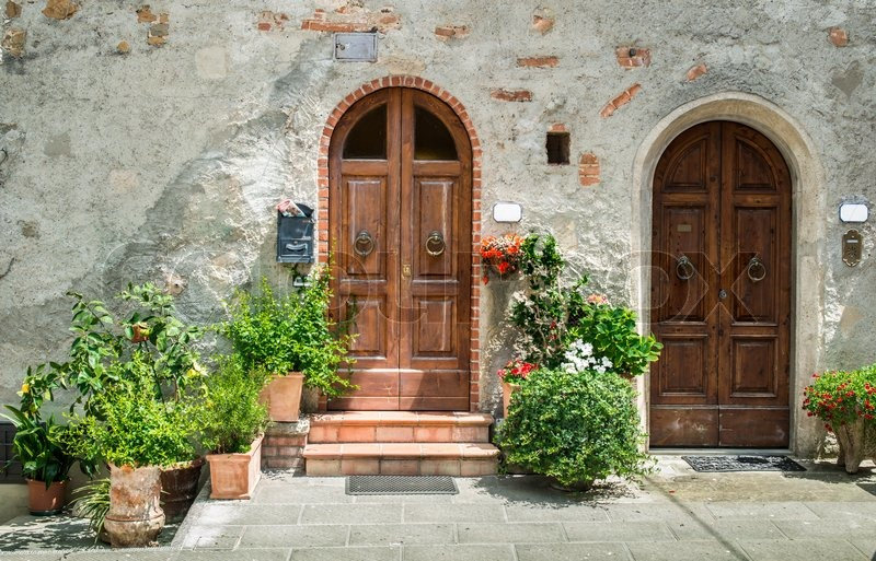Vintage Italian Houses With Flowers Stock Photo