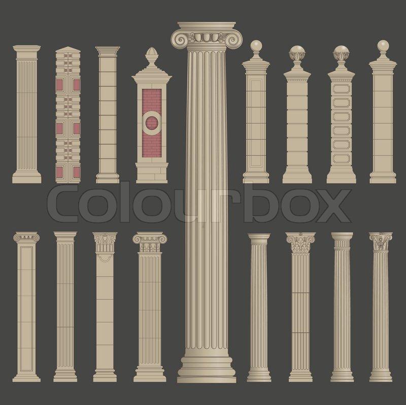 Pillar Column Antique Ancient Old Roman Greek Architecture Vector Set