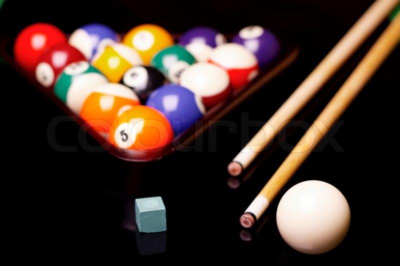 Billiard game on table, stock photo