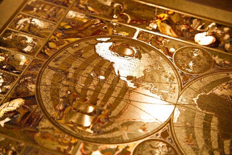 Golden Compass, navigation equipment, stock photo