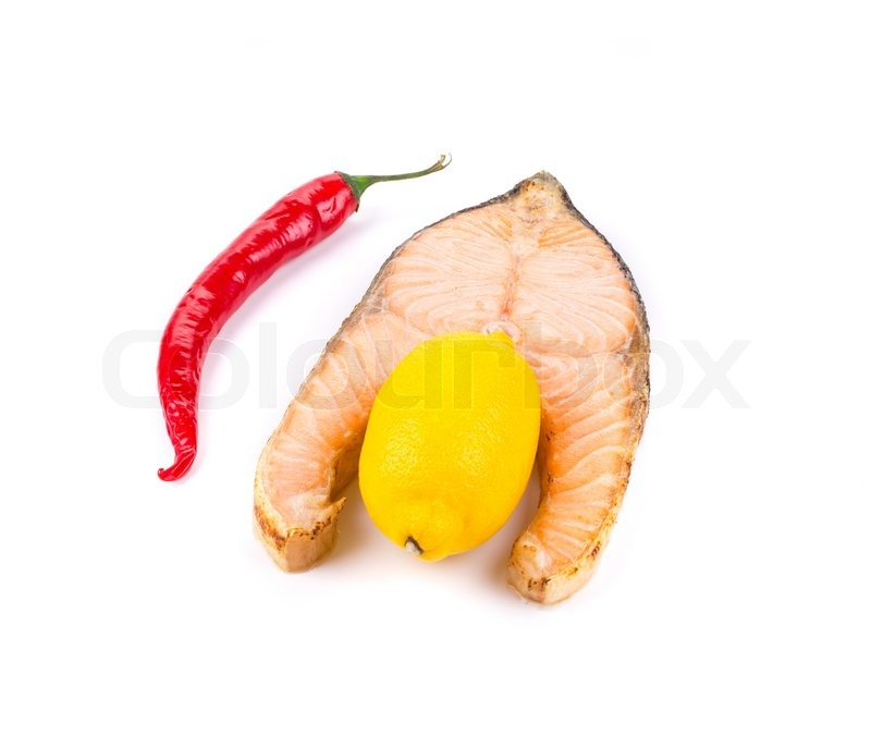 Stock image of 'Salmon steak grilled with lemon and pepper isolated'
