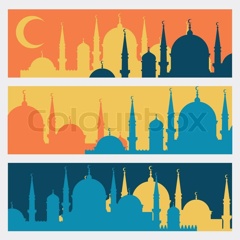 horizontal banners with islamic mosques in flat design