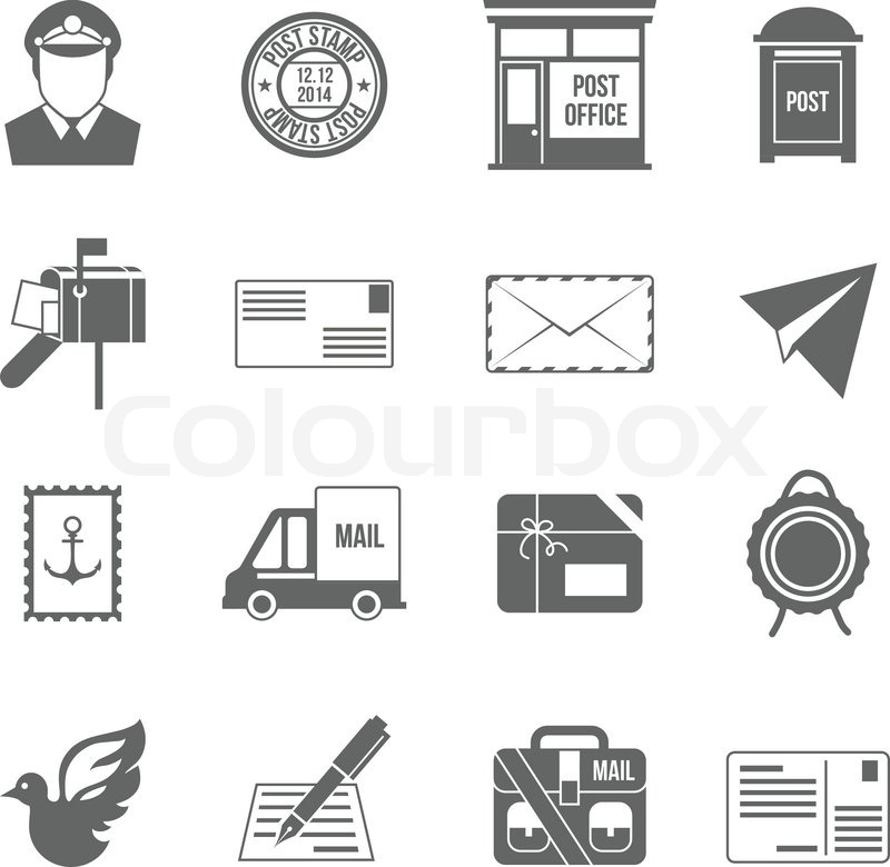 Post Service: Post Service Icon Black Set With Logistics Shipping And