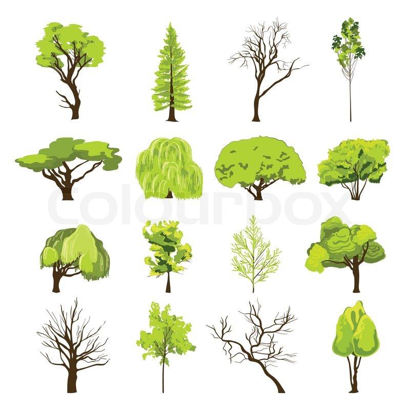 Skizze Baum Icons Set