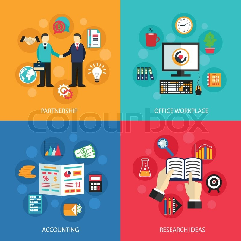 business concept flat icons set of partnership office meeting accounting workplace and project ideas for infographics design web elements vector - Web Design Project Ideas