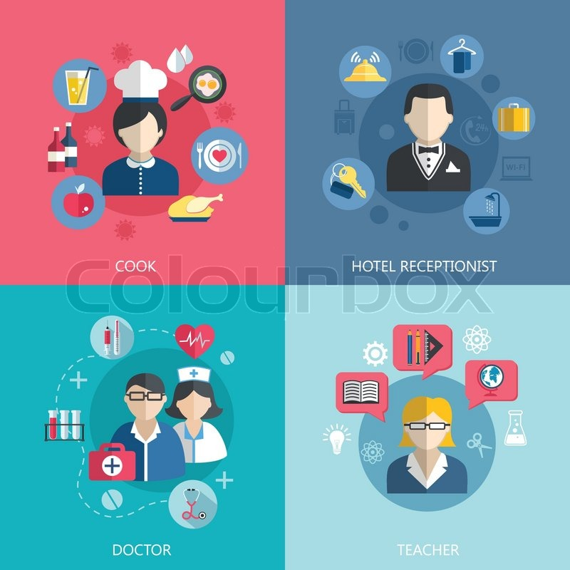 People professions concept flat icons set of cook doctor hotel receptionist and school teacher jobs for infographics design web elements vector illustration, vector
